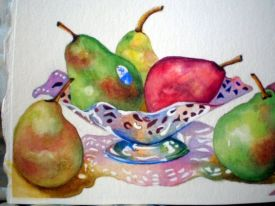 pears in fluted dish